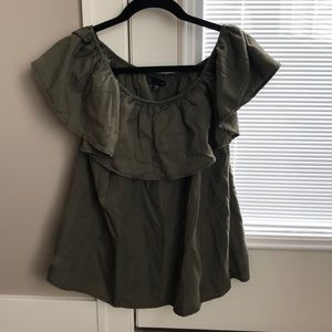 Green off the shoulder ruffle top! Only worn once